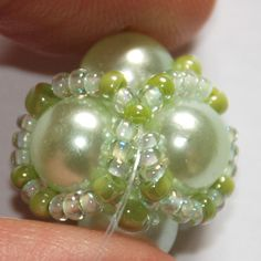Beaded bead with pearls