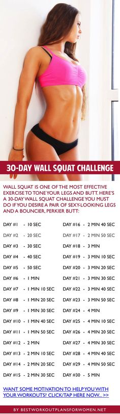 30-day wall squat challenge - Want some motivation to help you wish your workouts? Click here now: http://www.bestworkoutplansforwomen.net/free-fitness-motivational-quotes-ebook
