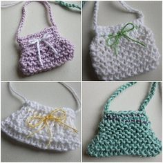 Miniature knitted handbags / Malas tricotadas em miniatura by Cards By Paula, via Flickr