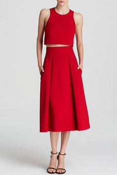 """The Matching Set """"Sure, you can mix and match these pieces with tons of different tops and bottoms. But, worn together, you've got one helluva party outfit — that isn't a dress."""" — EH #refinery29 http://www.refinery29.com/bloomingdales-fall-clothing#slide-15"""