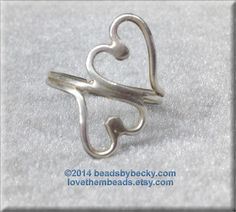 Double Open Heart Ring - 925 sterling silver - custom made - size made to order - Low Profile Ring - ultra comfortable - soldered wire ring - pinned by pin4etsy.com