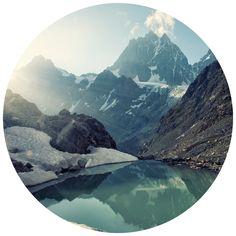 Mountain's Reflection | Circle Wall Decals | WallsNeedLove