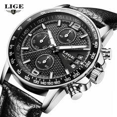 Brand LIGE 2017 new men s watches quartz watch men real three dial luminous waterproof  30M outdoor c3476242e7