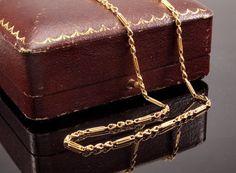 Edwardian 15k Gold Necklace  Antique Trombone by BelmontandBellamy