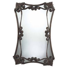 Antique-inspired wall mirror with scrolling metal framing.