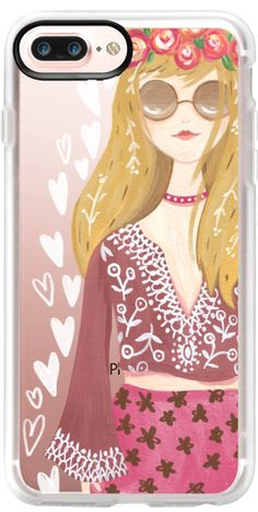 Casetify iPhone 7 Plus Case and other Woodland Animals iPhone Covers - 70s Girl by Bianca Pozzi | Casetifya