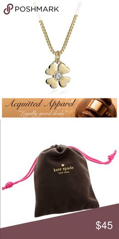 "🆕 Kate Spade New York Gold Plated Clover Necklace Brand new comes with bag! 17"" chain with 3"" extended. Gold plated necklace with small four leaf clover and glass center. Lobster clasp and logo charm on back. kate spade Jewelry Necklaces"