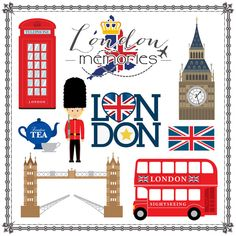 Scrapbook Customs - Travel Adventure Collection - 12 x 12 Paper - London Memories Cut Out Scrapbook Stickers, Scrapbook Paper, British Things, Birthday Scrapbook, Thinking Day, London Art, London Poster, Travel Scrapbook, Travel Themes