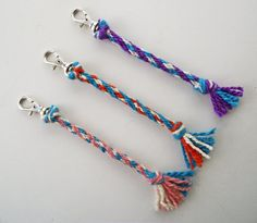 SOLD! Zipper Pulls, Set of 3 Zip Pulls, Keychains, Keyrings, Key Identifiers, Key Fobs, Set of Three Braided Kumihimo Key Rings, Handspun Yarn