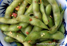 Spicy edamame - just sauted sauce in a pan and strained out red pepper flakes poured over shelled edamame it was great... Also cut rice vinegar in half