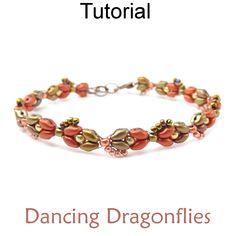 Beaded SuperDuo Dancing Dragonflies Bracelet Beading Pattern Tutorial | Simple Bead Patterns