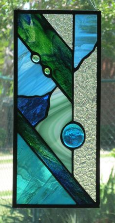 Green Teal and Blue Modern Stained Glass Suncatcher by Nanantz, $43.00