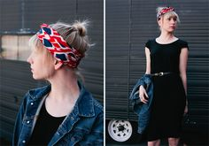 black dress + denim + bright scarf