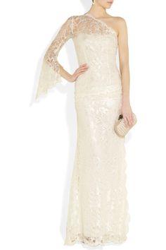 Emilio Pucci One-shoulder lace gown NET-A-PORTER.COM