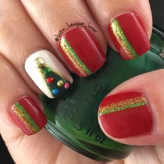 Christmas tree mani time! China Glaze High Roller, Snow and Holly-Day. Studs are from Amazon and the glitter is acrylic craft paint.  My topcoat is always HKGirl from Glisten&Glow. #GlistenandGlow ❤️. #diynails #nailart #polishaddict  #naturalnails #christmasnailart #chinaglaze #winternails #christmasnails #christmastreenails