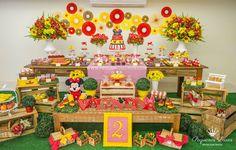 """Essa festa é linda e tem como tema """"Picnic da Minnie"""", a mãe se encarregou de fazer muitas lembranças lindas para a festa da filha que completaria dois aninhos. A festa teve uma decoração bem aleg..."""