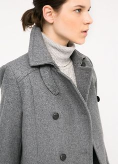 $74, Wool Blend Convertible Coat by Mango. Sold by Mango. Click for more info: http://lookastic.com/women/shop_items/154229/redirect