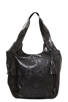 Loungefly - Black Woven Skull Shoulder Bag