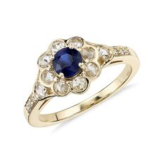 Sapphire and Cubic Zirconia Rose Cut Floral Ring in 14k Yellow Gold Plated Over…