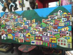 favela acrílico s/tela 210x80 pintado por Bianca Branco