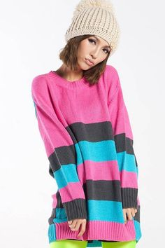 Multicolor Stripe Pattern Casual Knit Sweater, womens sweaters dresses,sexy sweater,girls sweaters,discount sweaters,mini sweaters,wool sweaters,cheap sweaters,fashion sweater coats,designer sweaters $38.99