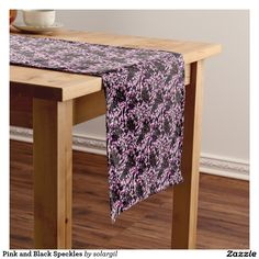 Pink and Black Speckles Short Table Runner