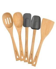 Anolon Kitchen Utensils, 5 Piece Wood Set