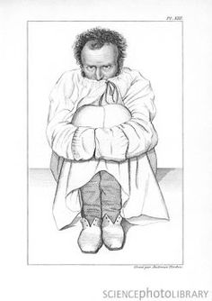 Psychiatric patient in a strait-jacket, hugging his knees.  This artwork was published in an 1838 French work on mental illness (Des maladies mentales) by the French psychiatrist Jean-Etienne Dominique Esquirol (1772-1840).