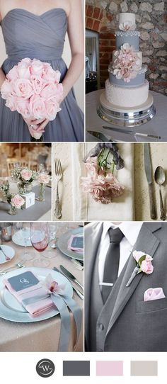 blush and grey wedding color ideas for 2017 trends