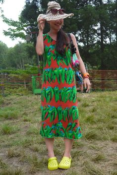 We are loving the fruit and vegetable prints seen at Fuji Rock Festival 2012, check back at the end of the week for the full report