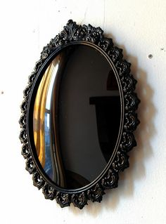 Black Convex Scrying Mirror in Vintage Oval by SecretWindowMirrors, $35.00