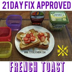 Fit For Life Mom: 21 Day Fix Approved French Toast Blend banana in with egg. For Banana french toast! 21 Day Fix Recipies, Diet Recipes, Healthy Recipes, Fixate Recipes, Diet Meals, Healthy Meals, Chicken Recipes, 21 Day Fix Breakfast, 21 Fix