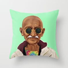 Hipstory -  mahatma gandhi Throw Pillow by Amit Shimoni | Society6 #art  #design #awesome #print  #poster  #color  #cool  #gift  #gift #ideas  #hipster  #funny  #Illustration  #threadless  #drawing  #girls  #beautiful #humor