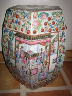 """Antique Chinese porcelain """"Famille Rose"""" garden seat. L. 19th century. These make very nice indoor or enclosed patio room accessories."""