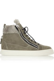 Giuseppe Zanotti London shearling-lined suede high-top sneakers | NET-A-PORTER