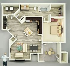 25 One Bedroom House/Apartment Plans  19) This spacious one bedroom includes two entrances for its huge bath, which is quite convenient.