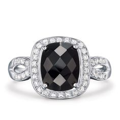 """3-ct. center stone genuine onyx. Sizes: 5-10.STERLING SILVERis the standard for fine silver jewelry in the world over. Only Sterling Silver can be stamped with a """"fineness mark"""" of .925 indicating its high quality."""