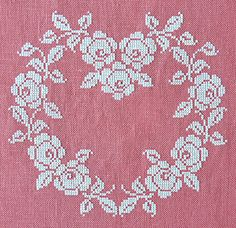 French embroidery ~ French cross stitched heart ~ white silk thread on pink-rose linen