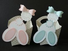Hamburger box due and a few punches makes adorable bunny treat boxes!