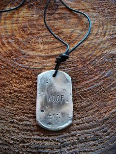 WOOF! Brutal Modern Bear Pewter Men's Woof Tag - Jewelry Gay Necklace Leather $39.95