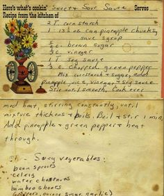 Sweet & Sour Sauce recipe - From my mom's recipe collection. Retro Recipes, Old Recipes, Vintage Recipes, Cookbook Recipes, Cooking Recipes, Asian Recipes, Pumpkin Recipes, Oriental Recipes, French Recipes
