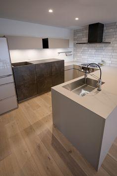 キッチンハウス キッチン:HJロックグレー バックセット:LCメルクリオ、HJロックグレー No.113-002507 Kitchen, House, Home Decor, Bathroom, Google, Modern Kitchens, Trendy Tree, Washroom, Cooking