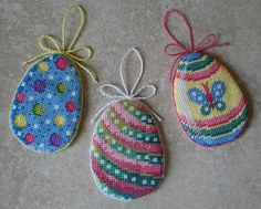 The Easter Bunny will be delighted to see this cute little trio of egg ornaments when he drops in to deliver candy this season! These three eggs are the first set - additional egg patterns are also available.