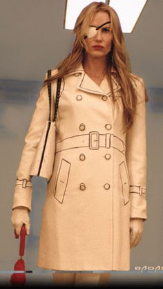 Such an amazing trench coat with the detail drawn on! Worn by Daryl Hannah in Kill Bill Vol 1