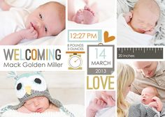 """I've been busily working on getting Mack's baby album started using the """"Baby Mine-Boy"""" Collection. I must say it has been a BREEZE getting . Project Life Scrapbook, Project Life Layouts, Project Life Cards, Pregnancy Scrapbook, Baby Boy Scrapbook, Shutterfly Photo Book, Project Life Baby, Digital Photo Album, Birth Announcement Boy"""