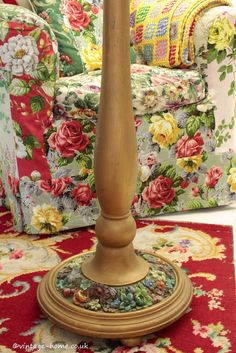 Vintage Home Shop - Stunning 1930s Floral Barbola Standard Lamp: www.vintage-home.co.uk
