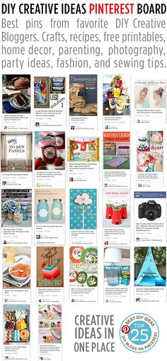 DIY Creative Ideas Pinterest Board - 25 Talented Bloggers - Crafts, recipes, printables, home decor, parenting, photography, party ideas and more! http://www.pinterest.com/livinglocurto/diy-creative-ideas/