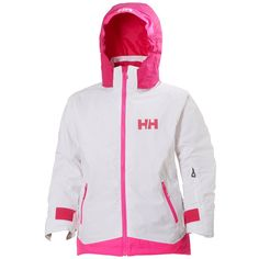 Helly Hansen Kid's Lousie Jacket, White, 176/16. Helly Tech performance, waterproof, windproof and breathable. Durable Water Repellency treatment (DWR). Fully seam sealed. Adjustable cuffs and bottom hem. Chin guard, printed HH logos in reflective colors.