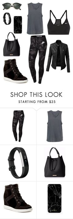"""""""Casual/Sporty Kinda Day"""" by isabel-pasrod on Polyvore featuring NIKE, Monrow, LE3NO, Fitbit, Call it SPRING and Ray-Ban"""