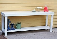 DIY outdoor console table for entertaining.